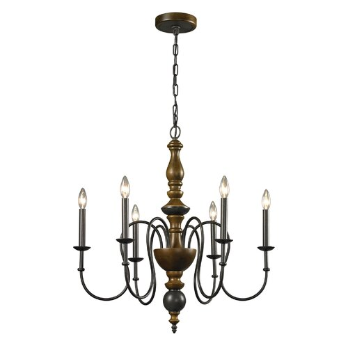 French Country 6 Light Candle Chandelier
