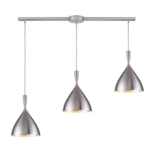 Elk Lighting Spun Aluminum 3 Light Linear Pendant