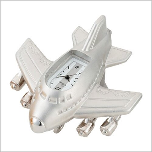Mini Jumbo Jet Clock in Silver