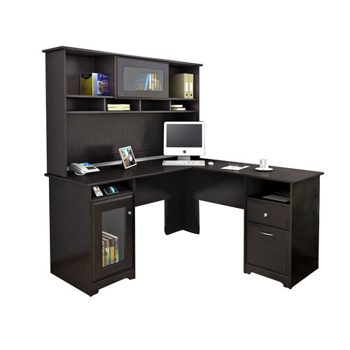 Bush Cabot L Shape Computer Desk With Hutch Amp Reviews