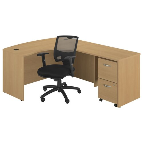 Bush Industries Series C Right Bow Front Desk with 2 Drawer File and Chair