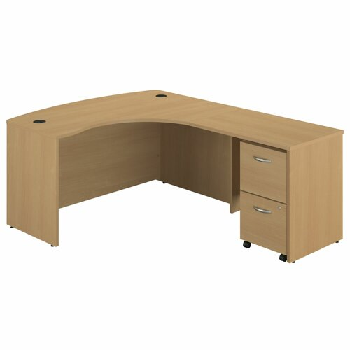 Bush Industries Series C Right Bow Front Desk with 2 Drawer File