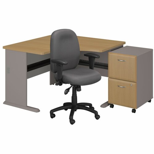 Series A Left Corner Desk with 2 Drawer File and Chair