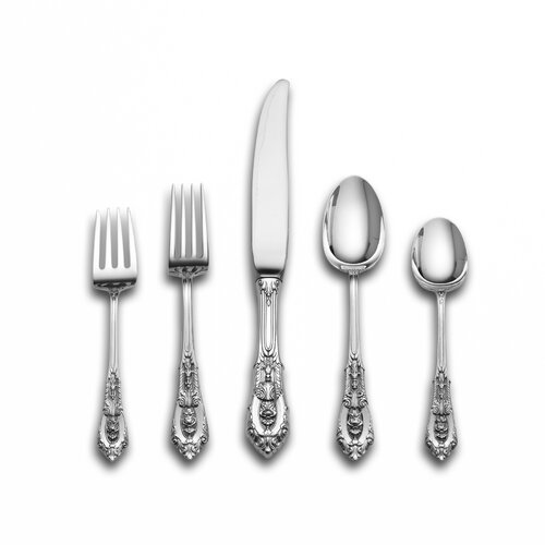 Wallace Sterling Silver Rose Point 66 Piece Flatware Set