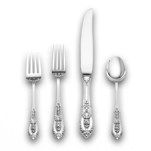 Wallace Sterling Silver Rose Point 4 Piece Flatware Set