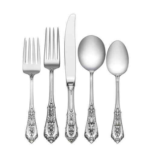 Wallace Sterling Silver Rose Point 5 Piece Flatware Set