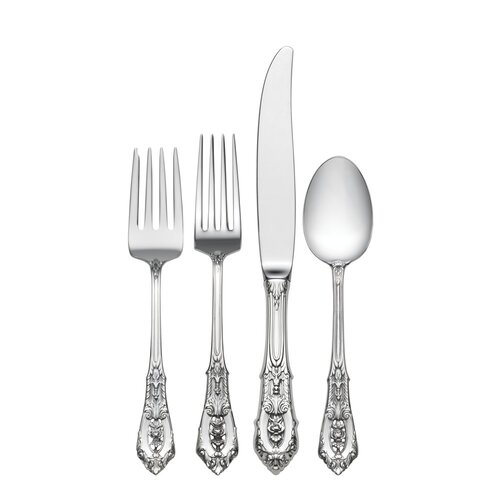 Sterling Silver Rose Point 4 Piece Dinner Flatware Set