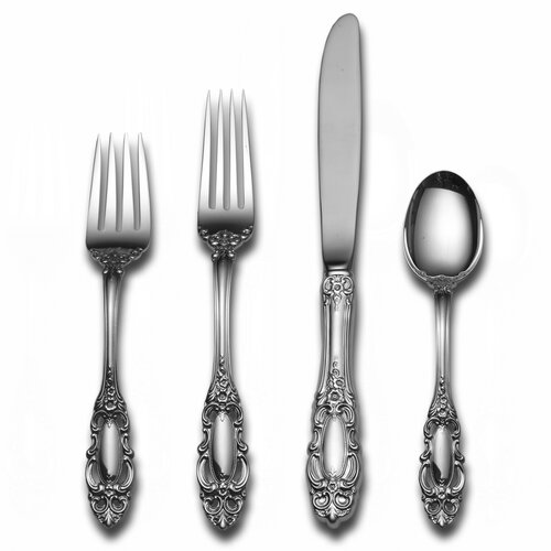 Towle Silversmiths Sterling Silver Grande Duchess 46 Piece Dinner Flatware Set and Serving Setting