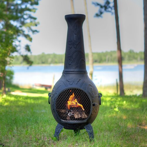 The Blue Rooster Butterfly Style Chiminea