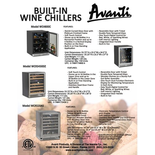 Avanti Products 46 Bottle Single Zone Built-In Wine Refrigerator