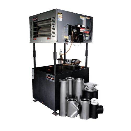 Lanair Products, LLC MX-Series 200,000 BTU Waste Oil Heater with Wall Chimney and 215 gal Tank