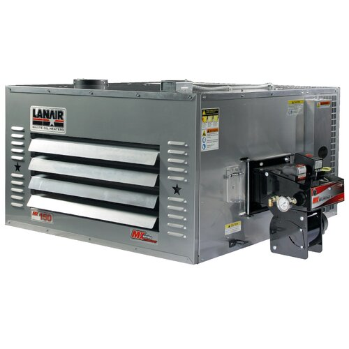 MX-Series 150,000 BTU Waste Oil Heater with Wall Chimney and 80 gal Tank