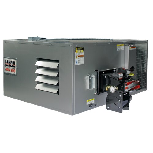 MX-Series 200,000 BTU Ductable Waste Oil Heater with Roof Chimney and 215 gal Tank