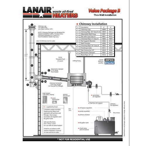 Lanair Products, LLC MX-Series 250,000 BTU Waste Oil Heater with Wall Chimney and 80 gal Tank