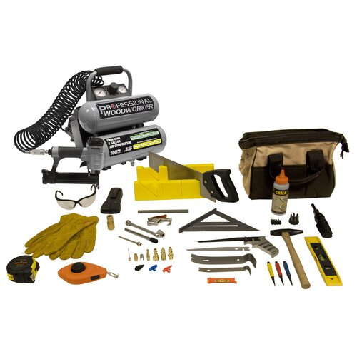 PROFESSIONAL WOODWORKER 2 Gallon Twin Stack Air Compressor with 50 Piece Carpentry Combo Kit