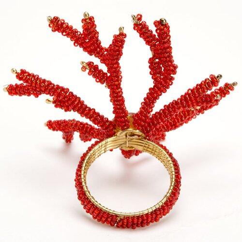 Debage Inc. Coral Napkin Rings in Red
