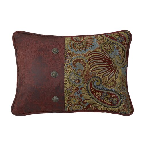 San Angelo Paisley Print Pillow with Faux Leather Side and Concho