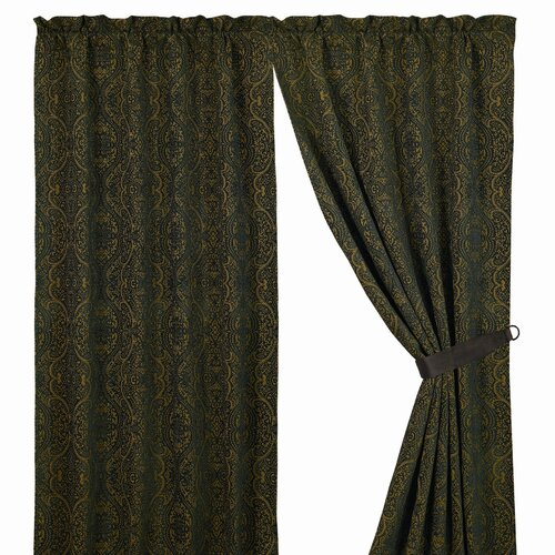HiEnd Accents Bella Vista Damask Rod Pocket Curtain Single Panel