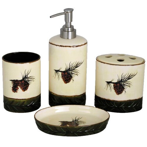 HiEnd Accents Pinecone 4 Piece Bathroom Set