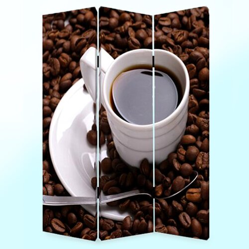 "Screen Gems 72"" x 48"" Coffee Time Screen 3 Panel Room Divider"
