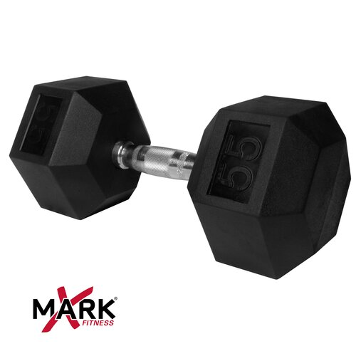 X-Mark 55 lb. Rubber Hex Dumbbell