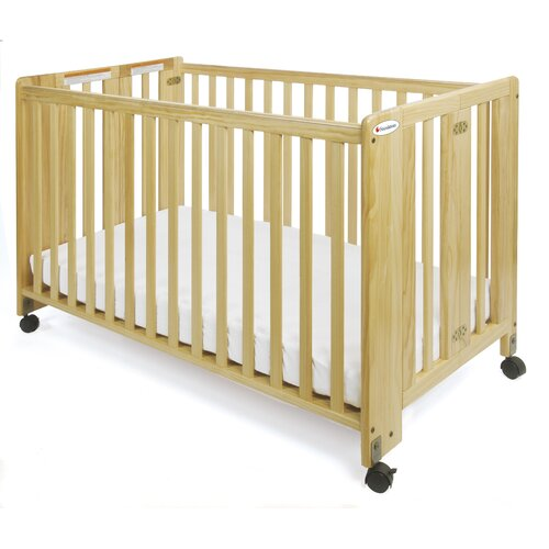 Foundations Full Size HideAway Nursery Folding Fixed Side Crib with 2