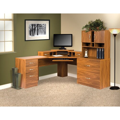 OS Home & Office Furniture Office Adaptations L-Shape Computer Desk with Hutch