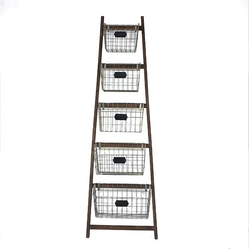 Creative co op bistro wood ladder with 5 wire baskets