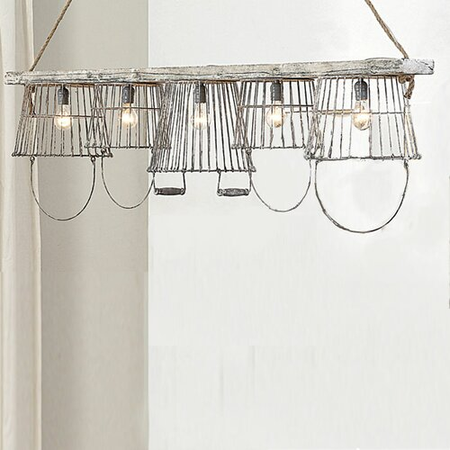 Casual Country Basket 5 Light Pendant
