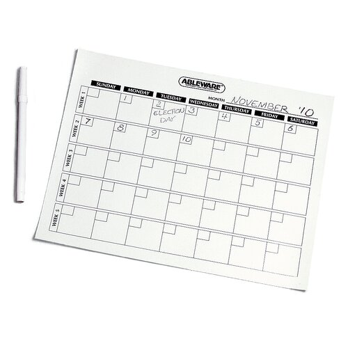 Ableware Write On and Wipe Off Calendar Task Aid