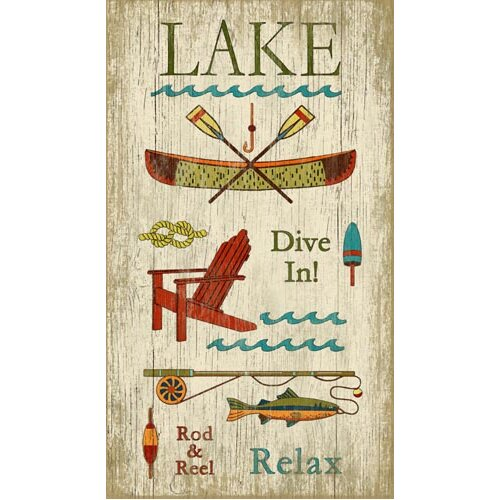Lake Signs Wall Decor : Vintage signs lake wall art by suzanne nicoll