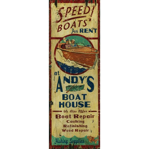 Vintage Signs Andy's Boat House Vintage Advertisement Plaque