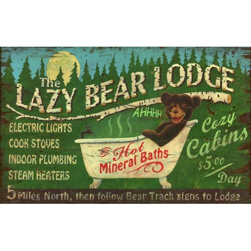 Vintage Signs Lazy Bear Vintage Advertisement Plaque