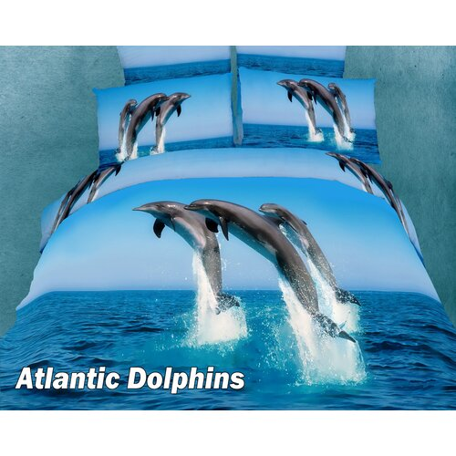 Dolce Mela Atlantic Dolphins Egyptian Cotton Duvet Cover set