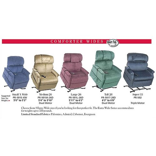 Comforter Extra Wide Dual Motor Large 3 Position Lift Chair with Head Pillow