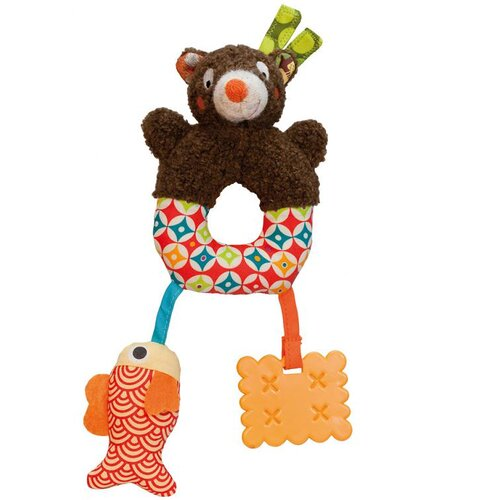 Woodours Mini Baby Activity Rattle and Teether Bear Take Along Toy