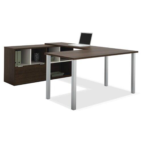 Bestar Contempo U-Shaped Desk with Storage Hutch