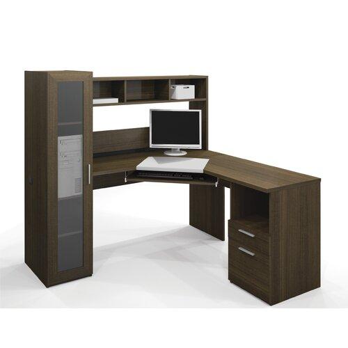Bestar Jazz Corner Computer Desk with Hutch and Cabinet