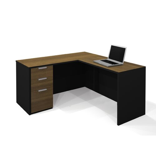 Bestar Pro-Concept L-Shaped Workstation In Milk Chocolate Bamboo & Black