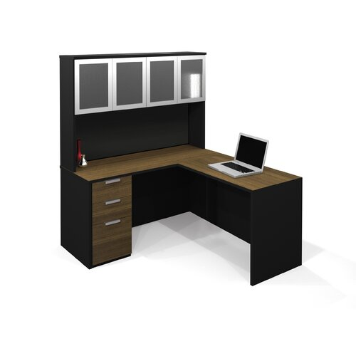 Bestar Pro-Concept L-Shaped Workstation With High Hutch  In Milk Chocolate Bamboo & Black