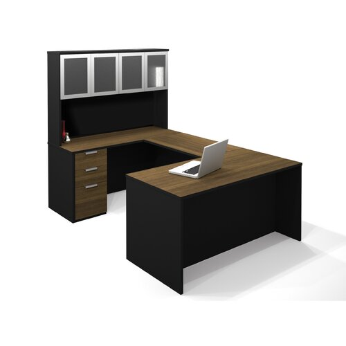 Bestar Pro-Concept U-Shaped Workstation With High Hutch In Milk Chocolate Bamboo & Black