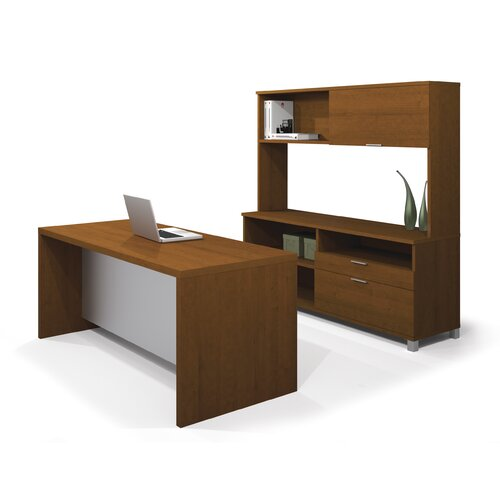 Bestar Pro-Linea 2-Piece Standard Desk Office Suite
