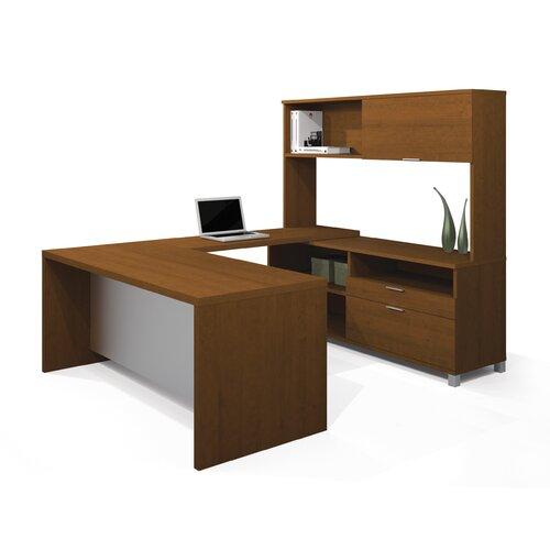 Bestar Pro-Linea U-Shape Desk with Hutch