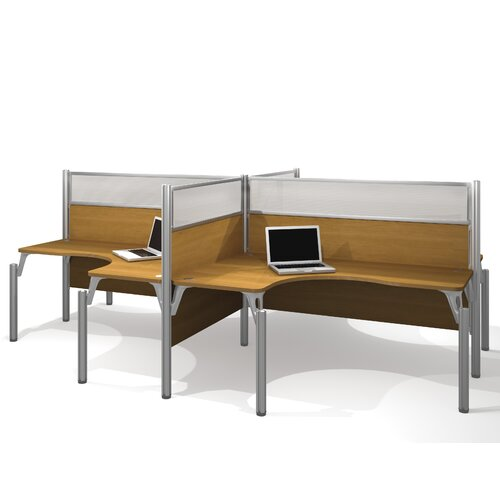 Bestar Pro-Biz Four L-Desk Workstation with 8 Privacy Panels