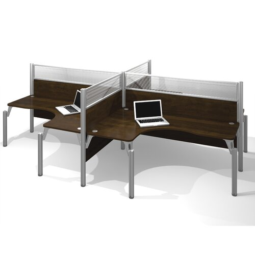Bestar Pro-Biz Four L-Desk Workstation with 8 Privacy Panels