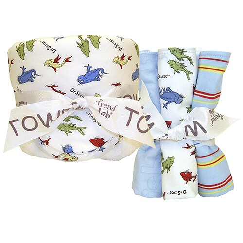 Dr. Seuss One Fish Two Fish Bouquet Hooded Towel and Wash Cloth Set