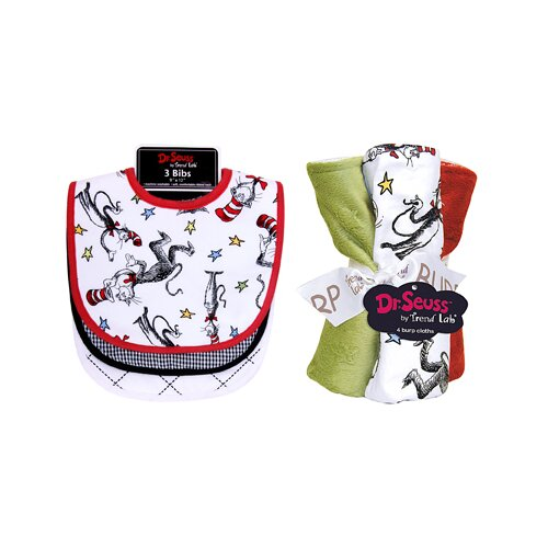 Trend Lab Dr. Seuss Cat in the Hat Bouquet Bib and Burp Cloth Set