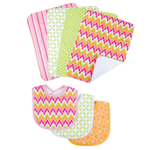Trend Lab Savannah Bouquet Bib and Burp Cloth Set