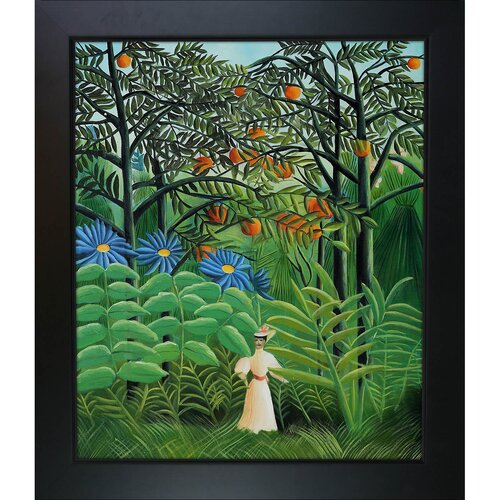 Woman Walking in an Exotic Forest by Rousseau Framed Original Painting