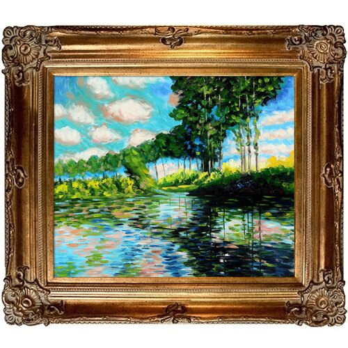 Poplars on the Banks of the Epte by Monet Framed Original Painting
